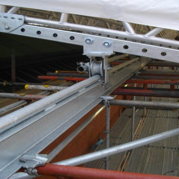 Anti-Uplift Track System for Rolling Temporary Roofs